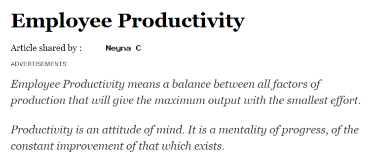 What is employee productivity